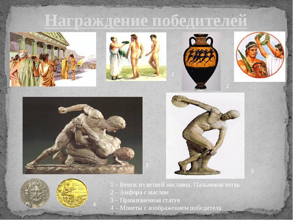 Награждение победителей 1 – Венок из ветвей маслины, Пальмовая ветвь 2 – Амфо...