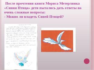 После прочтения книги Мориса Метерлинка «Синяя Птица» дети пытались дать отв