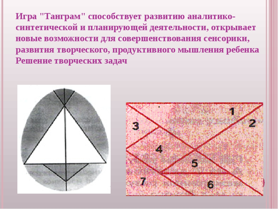 """Игра """"Танграм"""" способствует развитию аналитико-синтетической и планирующей де..."""