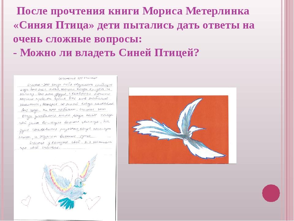 После прочтения книги Мориса Метерлинка «Синяя Птица» дети пытались дать отв...