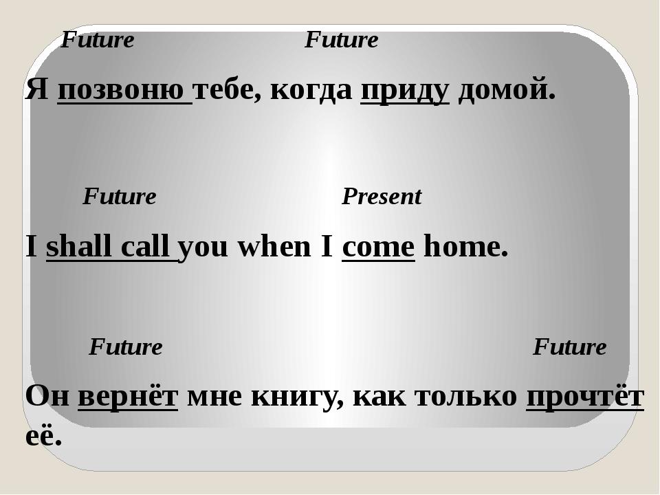 Future Future Я позвоню тебе, когда приду домой. Future Present I shall call...