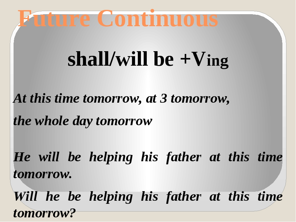 Future Continuous shall/will be +Ving At this time tomorrow, at 3 tomorrow, t...