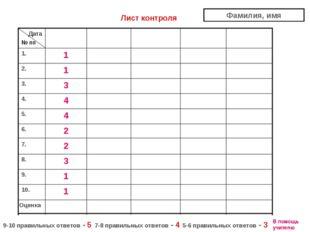 Оценка 1 10. 1 9. 3 8. 2 7. 2 6. 4 5. 4 4. 3 3. 1 2. 1 1. Дата № пп Лист конт