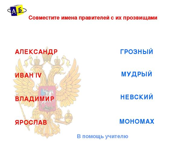Совместите имена правителей с их прозвищами АЛЕКСАНДР ИВАН IV ВЛАДИМИР ЯРОСЛА...