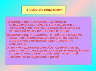 В работе с педагогами: * формирование понимания значимости сотрудничества с