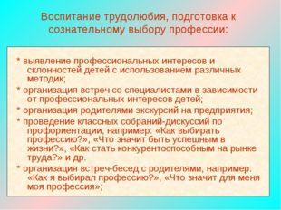 Воспитание трудолюбия, подготовка к сознательному выбору профессии: * выявлен