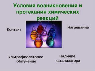 Наличие катализатора Нагревание Контакт Ультрафиолетовое облучение Условия во