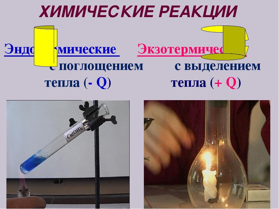 ХИМИЧЕСКИЕ РЕАКЦИИ Эндотермические Экзотермические c поглощением с выделением...