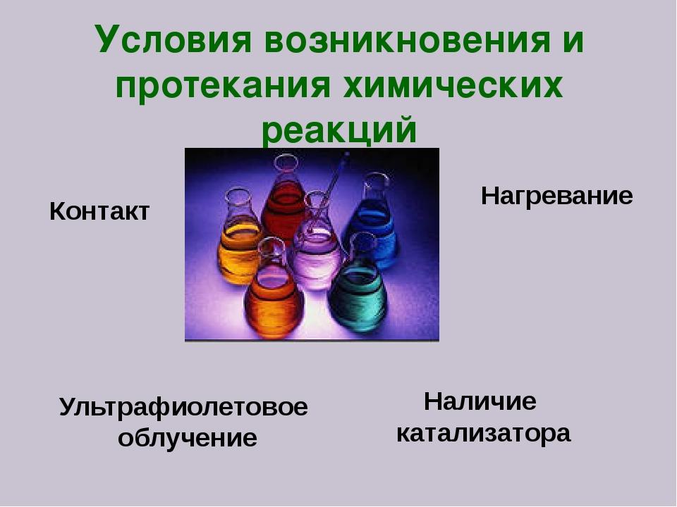 Наличие катализатора Нагревание Контакт Ультрафиолетовое облучение Условия во...
