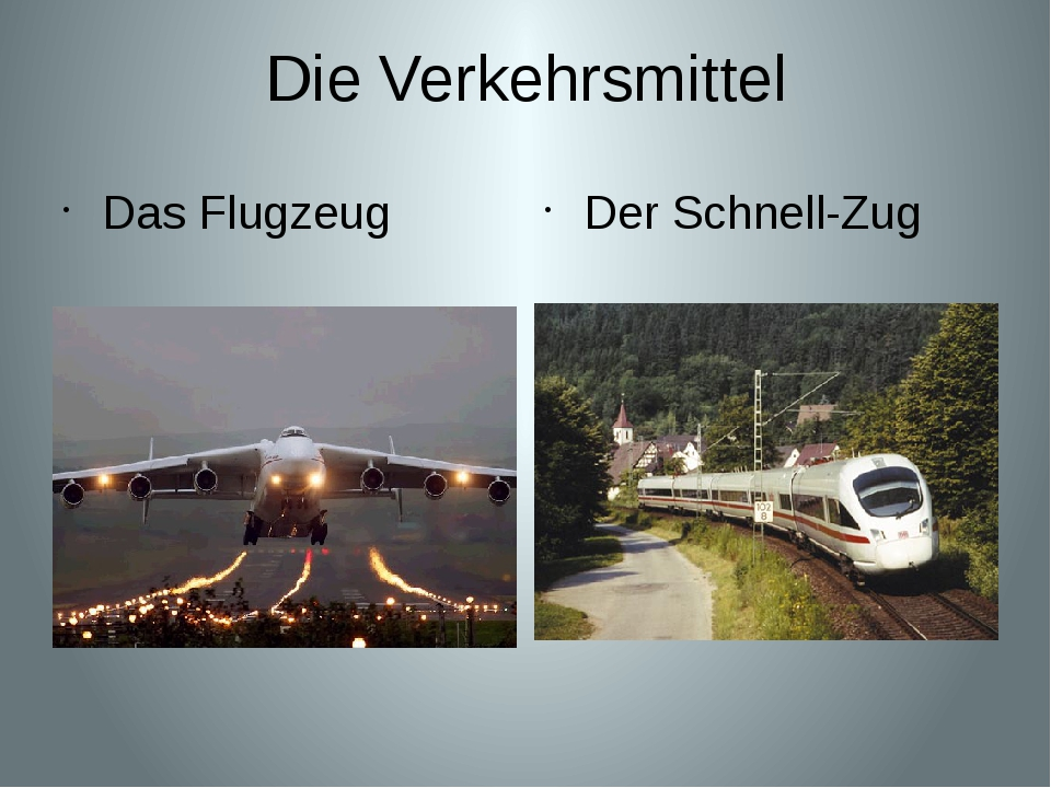 Die Verkehrsmittel Das Flugzeug Der Schnell-Zug