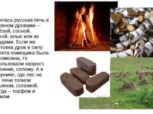 Топилась русская печь в основном дровами – берёзой, сосной, ольхой, елью или
