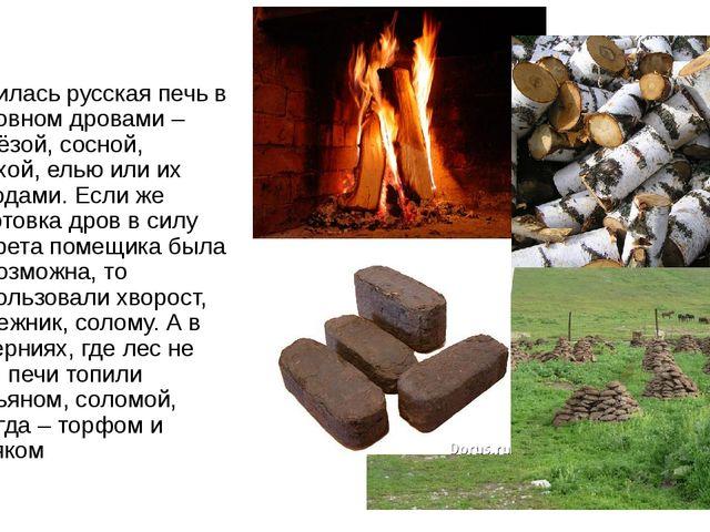 Топилась русская печь в основном дровами – берёзой, сосной, ольхой, елью или...