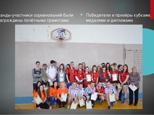 Команды-участники соревнований были награждены почётными грамотами Победители...