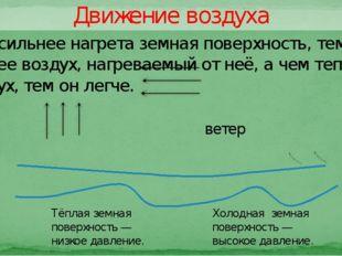 Движение воздуха ветер Тёплая земная поверхность — низкое давление. Холодная