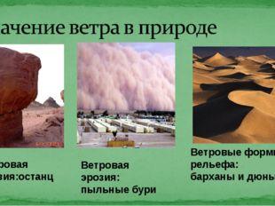 Ветровая эрозия:останцы Ветровая эрозия: пыльные бури Ветровые формы рельефа: