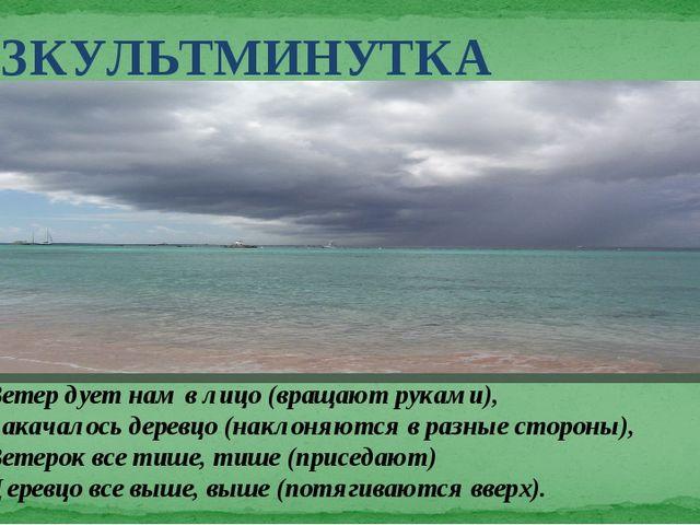 Ветер дует нам в лицо (вращают руками), Закачалось деревцо (наклоняются в раз...