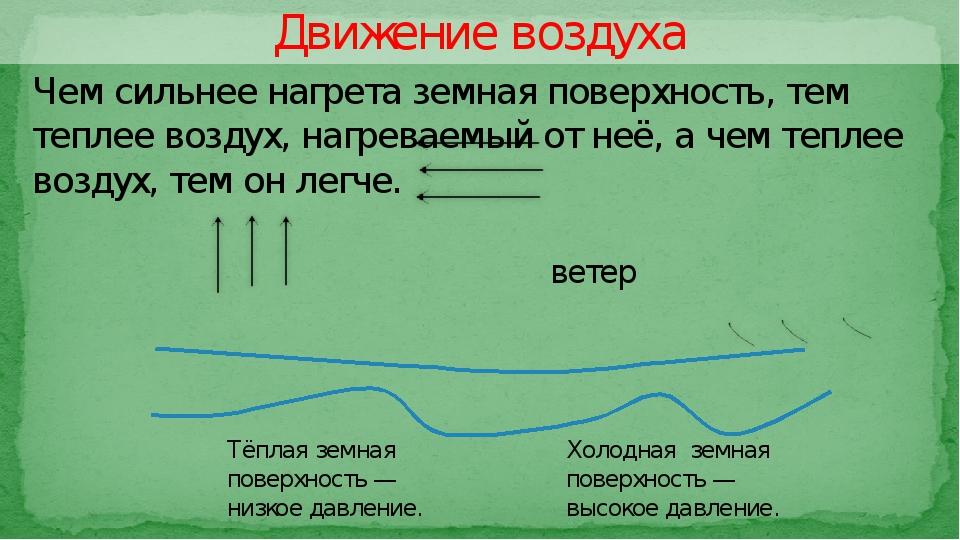 Движение воздуха ветер Тёплая земная поверхность — низкое давление. Холодная...