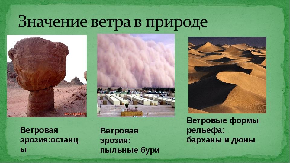 Ветровая эрозия:останцы Ветровая эрозия: пыльные бури Ветровые формы рельефа:...
