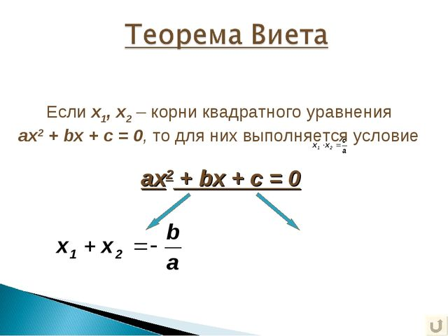 ax2 + bx + c = 0 Если х1, х2 – корни квадратного уравнения ax2 + bx + c = 0,...