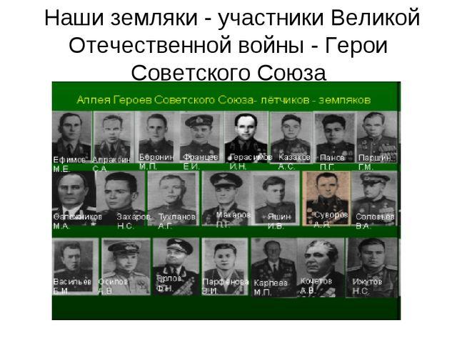 Наши земляки - участники Великой Отечественной войны - Герои Советского Союза