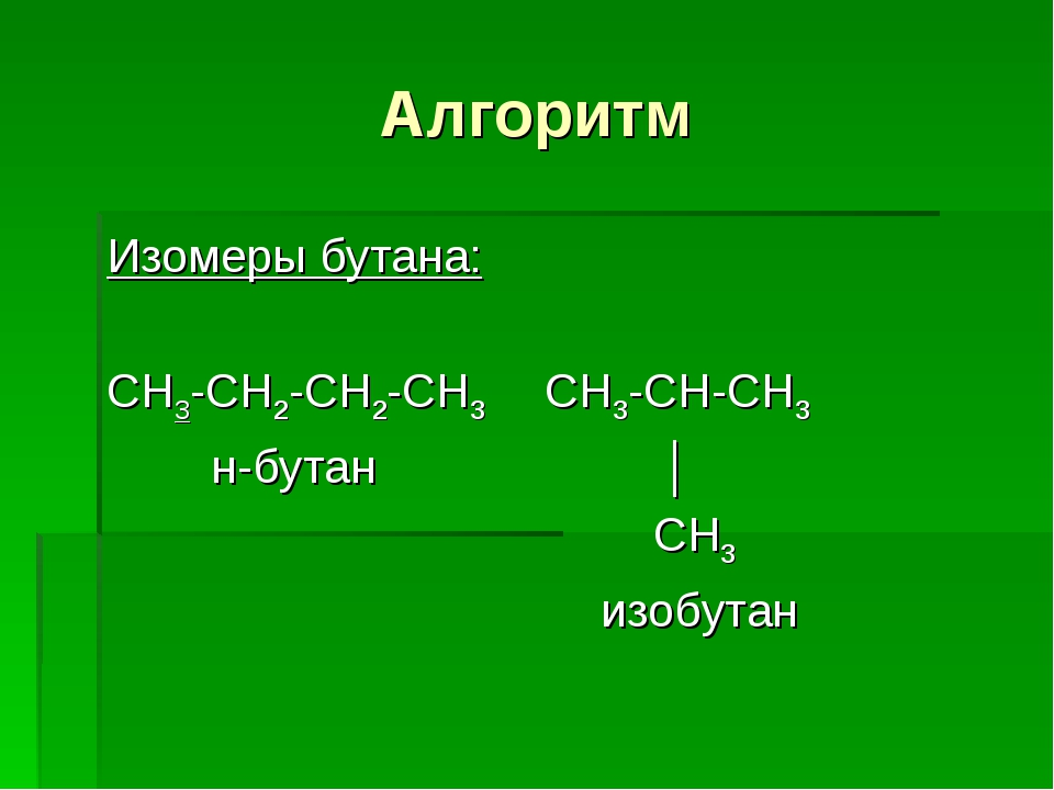 Алгоритм Изомеры бутана: СН3-СН2-СН2-СН3 СН3-СН-СН3 н-бутан │ СН3 изобутан