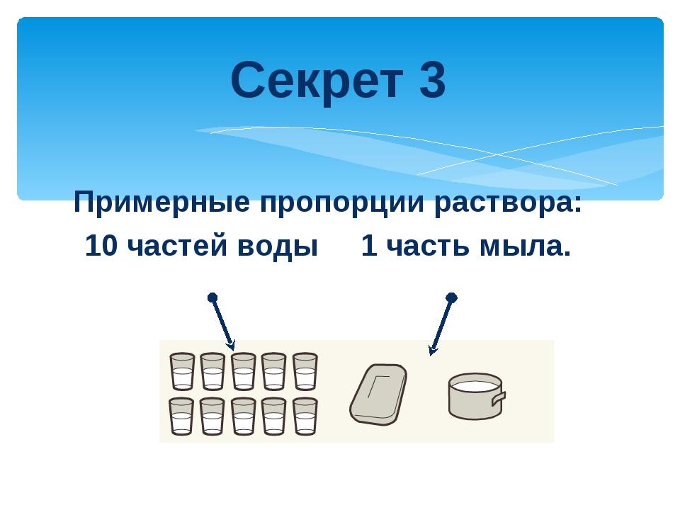 Примерные пропорции раствора: 10 частей воды 1 часть мыла. Секрет 3