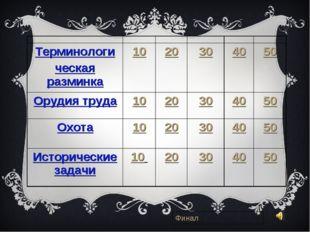 Финал  Терминологи ческая разминка1020304050 Орудия труда102030