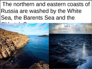 The northern and eastern coasts of Russia are washed by the White Sea, the