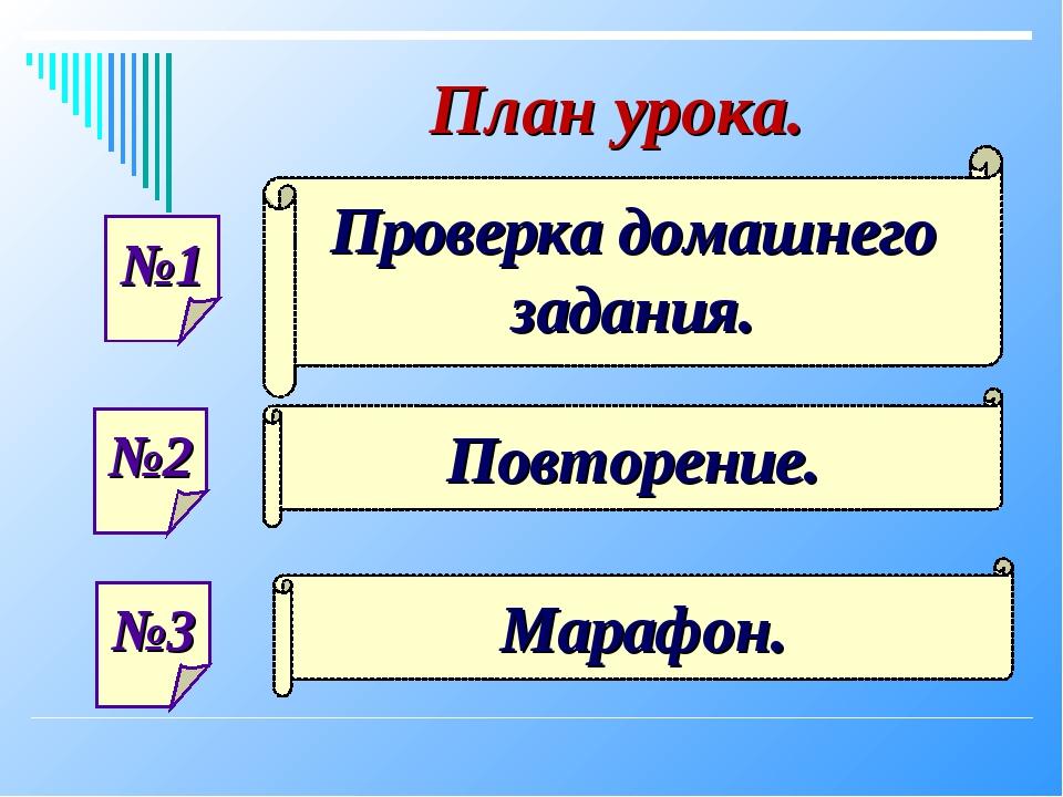 №1 №2 №3 Проверка домашнего задания. Повторение. Марафон. План урока.