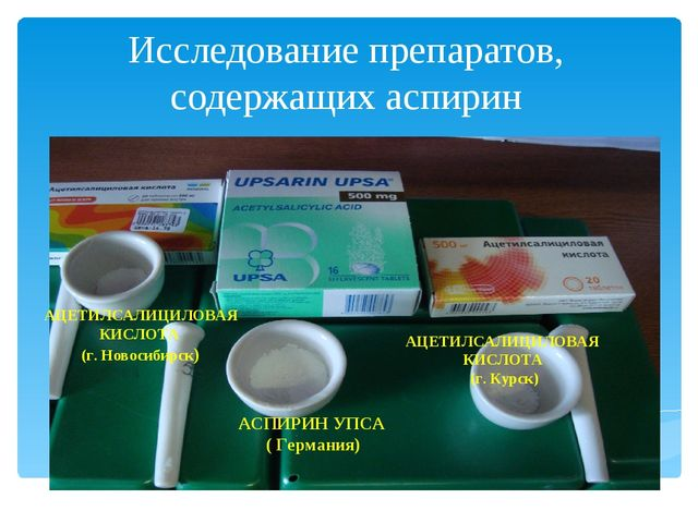 Исследование препаратов, содержащих аспирин АСПИРИН УПСА ( Германия) АЦЕТИЛС...