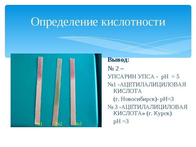 Определение кислотности Вывод: № 2 – УПСАРИН УПСА - рН = 5 №1 -АЦЕТИЛАЛИЦИЛОВ...