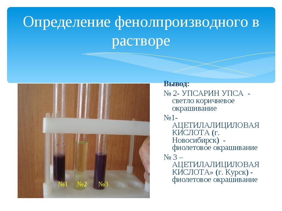 Определение фенолпроизводного в растворе Вывод: № 2- УПСАРИН УПСА - светло ко...