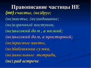 Правописание частицы НЕ (не) счастье, (не)друг; (не)настье, (не)годование; (н