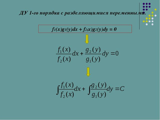 ДУ 1-го порядка с разделяющимися переменными. f1(x)g1(y)dx + f2(x)g2(y)dy = 0
