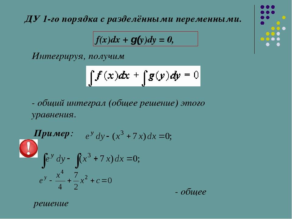 ДУ 1-го порядка с разделёнными переменными. f(x)dx + g(y)dy = 0, Интегрируя,...