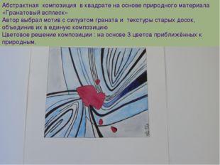 Абстрактная композиция в квадрате на основе природного материала «Гранатовый