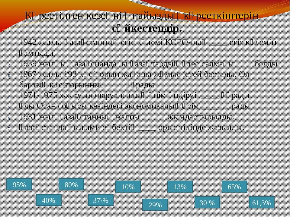 1942 жылы Қазақстанның егіс көлемі КСРО-ның ____ егіс көлемін қамтыды. 1959 ж...