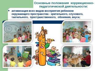 Основные положения коррекционно-педагогической деятельности: активизация всех