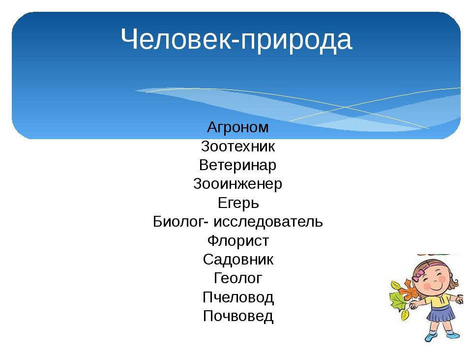 Человек-природа Агроном Зоотехник Ветеринар Зооинженер Егерь Биолог- исследов...