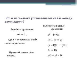 Что в математике устанавливает связь между величинами? Линейные уравнения: