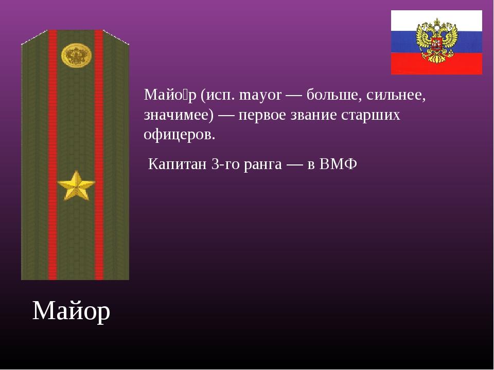 Поздравления присвоением звания майора