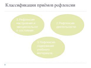 Классификация приёмов рефлексии 3.Рефлексия содержания учебного материала 2.Р