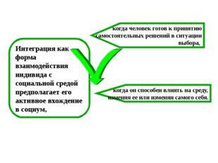 Интеграция как форма взаимодействия индивида с социальной средой предполагает