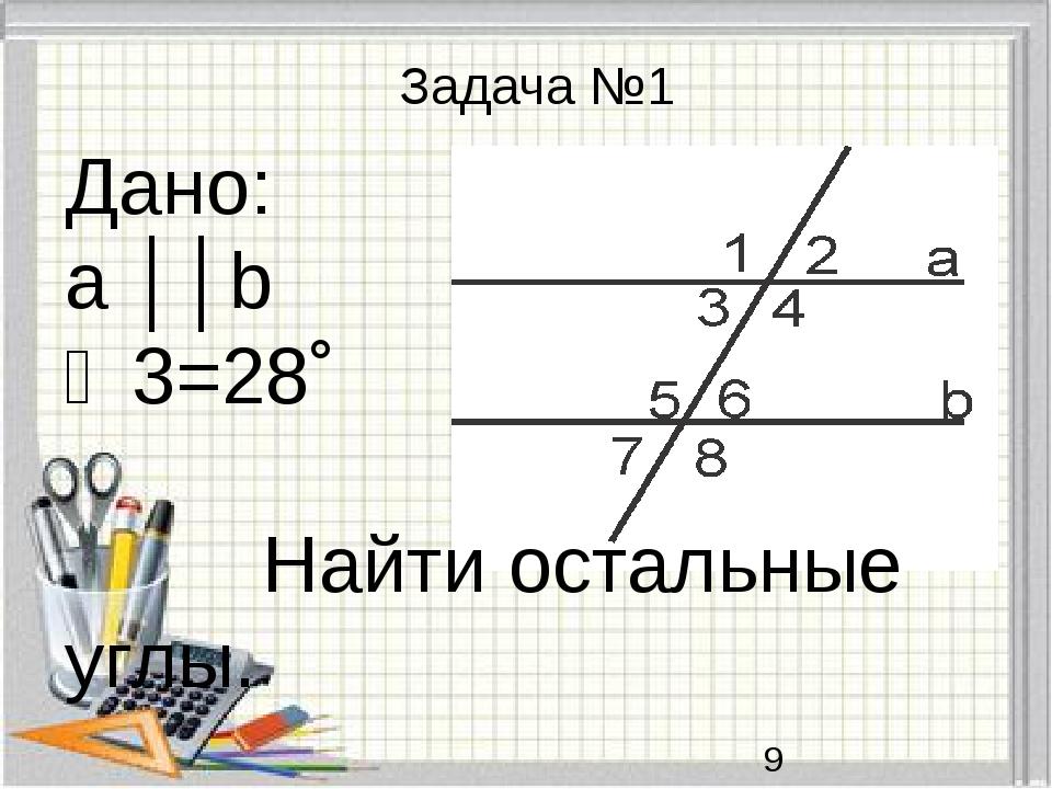 Дано: a ││b ∠3=28˚ Найти остальные углы. Задача №1