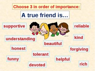 A true friend is… Choose 3 in order of importance: supportive understanding r