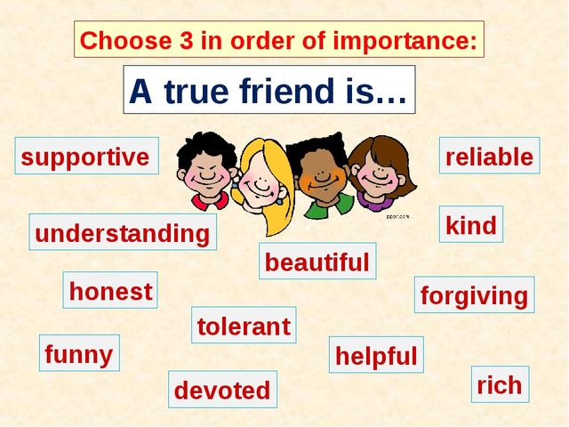 A true friend is… Choose 3 in order of importance: supportive understanding r...