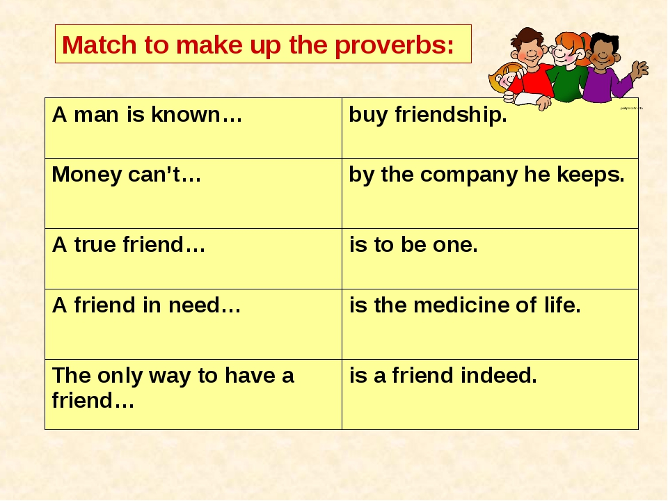 Match to make up the proverbs: A man is known… buy friendship. Money can't…...