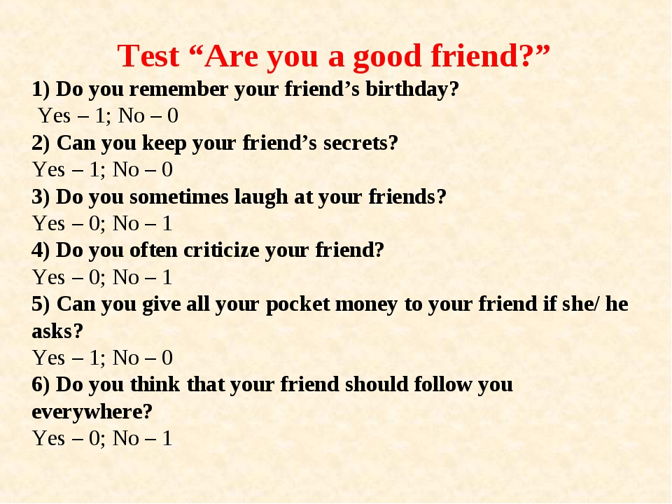 "Test ""Are you a good friend?"" 1) Do you remember your friend's birthday? Yes..."