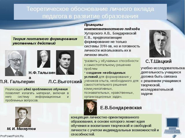 Теоретическое обоснование личного вклада педагога в развитие образования П.Я....