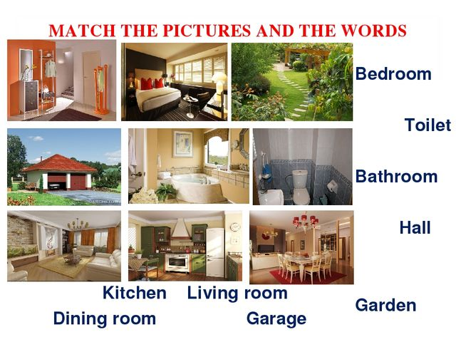 MATCH THE PICTURES AND THE WORDS Kitchen Living room Dining room Garage Bedro...